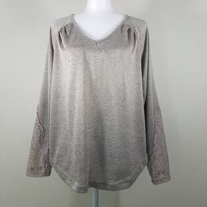 One World Long Sleeve Lace Top Size M